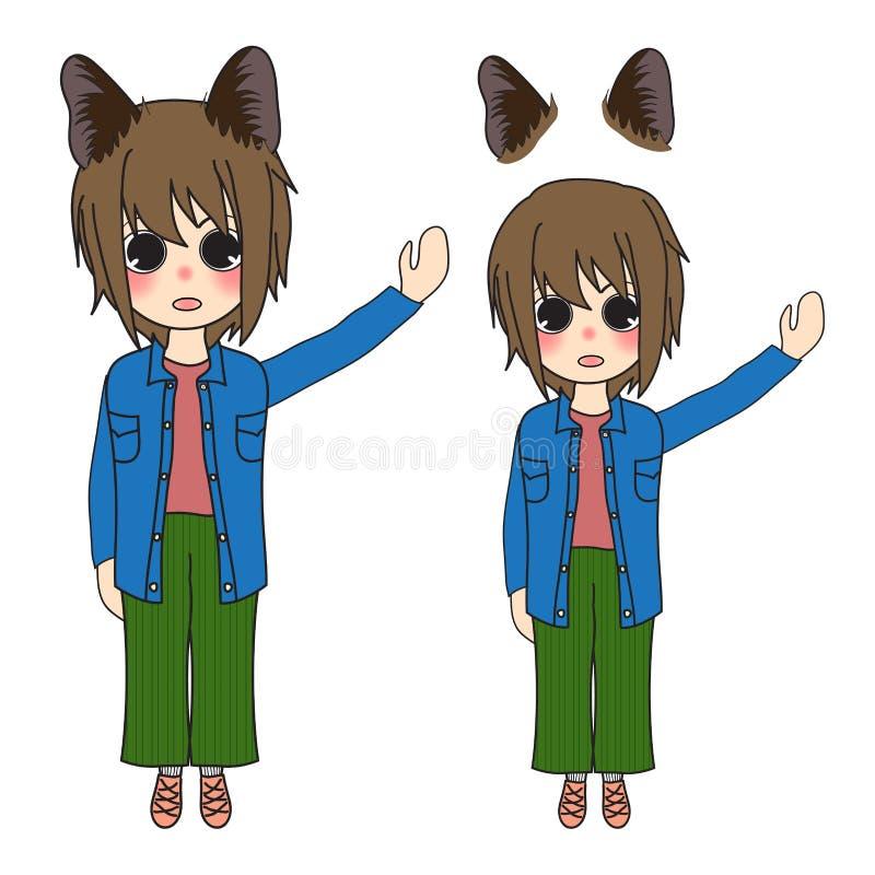 Девушка коротких волос с представлять ушей кота также вектор иллюстрации притяжки corel белизна изолированная предпосылкой бесплатная иллюстрация