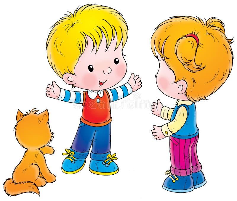 Рисунок мальчик и девочка разговаривают