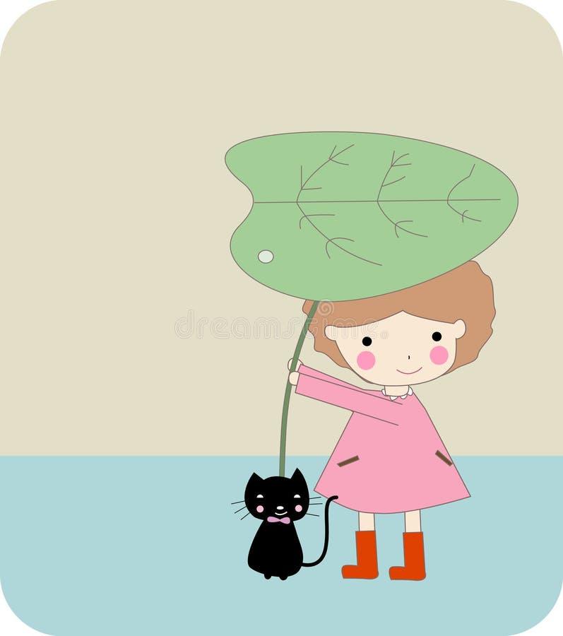 девушка кота милая иллюстрация штока
