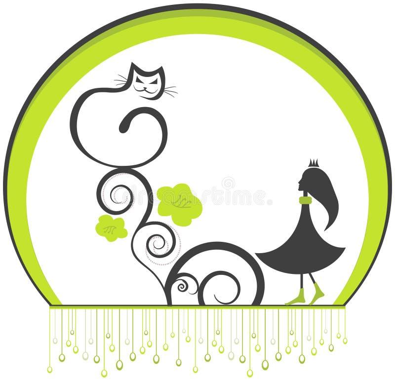 девушка кота бесплатная иллюстрация