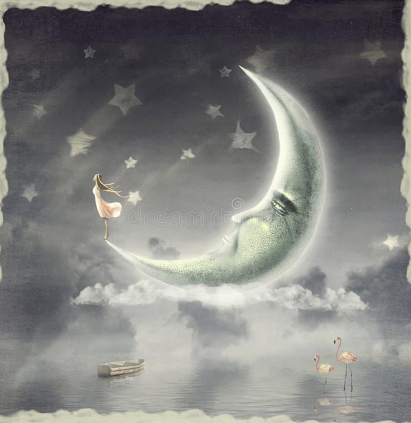 Девушка которая восшхищает небо звезды иллюстрация штока