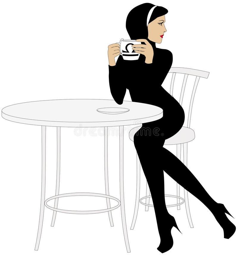девушка кофейной чашки иллюстрация вектора