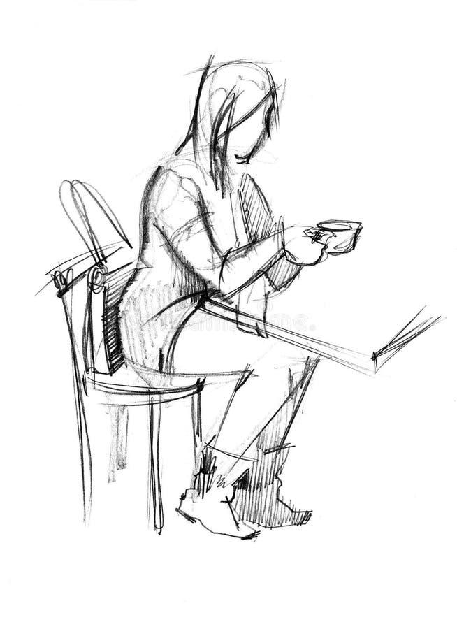 девушка кофе имеет таблицу иллюстрация штока