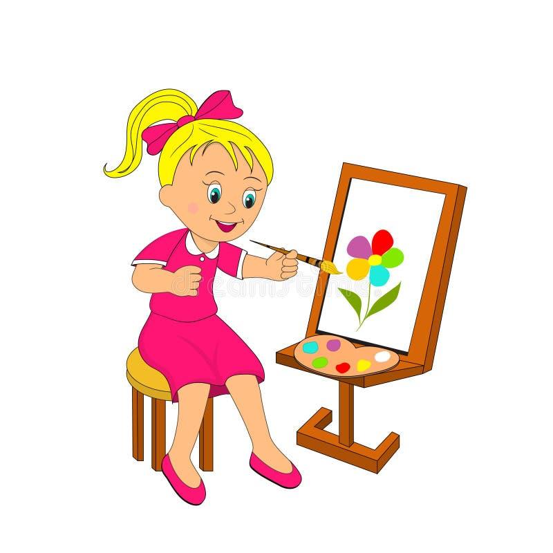 Девушка красит цветок на мольберте бесплатная иллюстрация