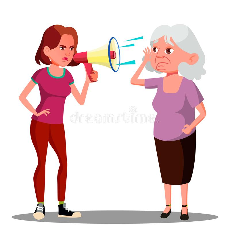 Девушка кричащая к слышать - поврежденный пожилой вектор женщины Изолированная иллюстрация шаржа иллюстрация штока
