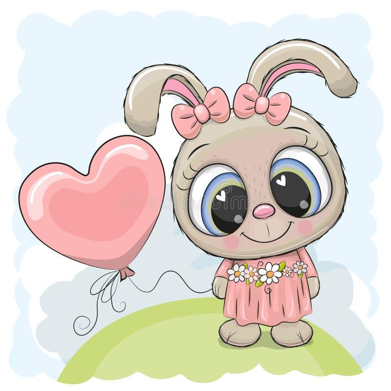 Девушка кролика с воздушным шаром на луге иллюстрация штока