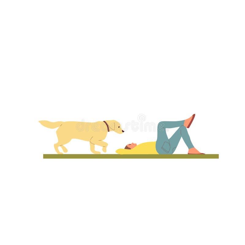 Девушка лежит на траве с retriever labrador золотым r Плоский вектор запаса мультфильма стиля иллюстрация штока