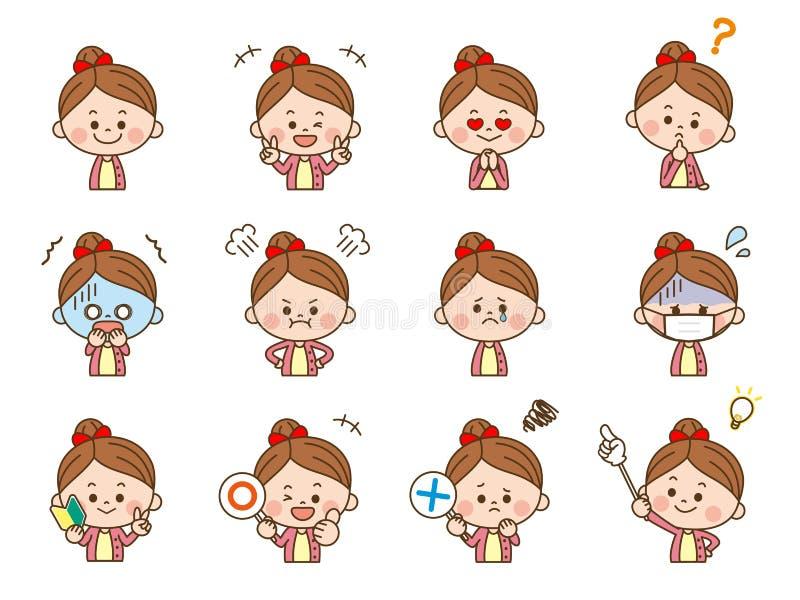 Девушка лицевое expression3 бесплатная иллюстрация