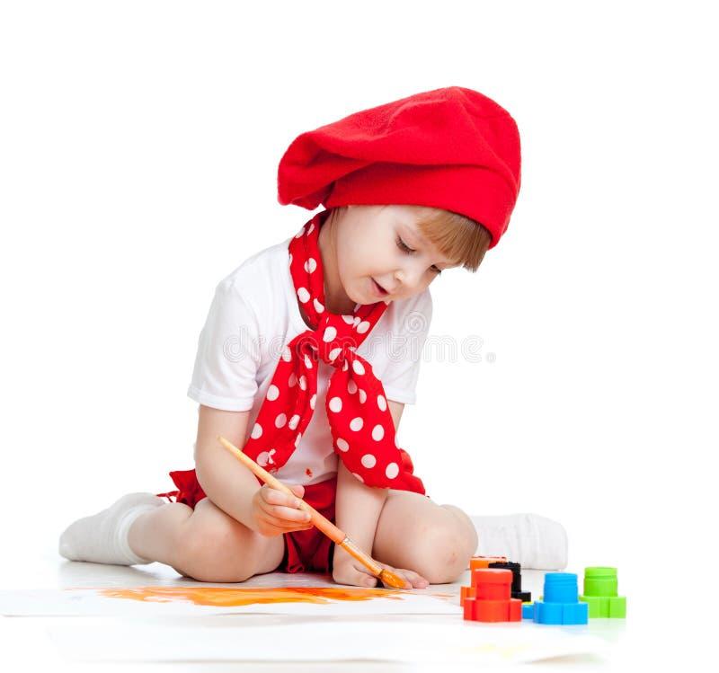 Девушка малыша картины на белизне стоковое изображение