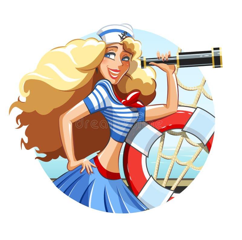 Девушка матроса с трубой и кольцом спасения иллюстрация вектора
