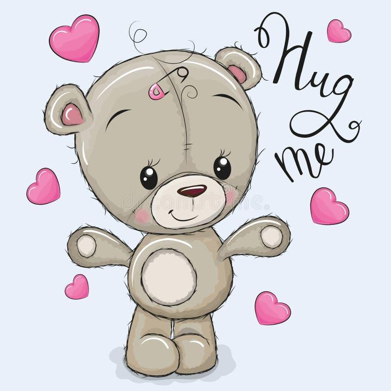 Девушка медведя поздравительной открытки с сердцами бесплатная иллюстрация