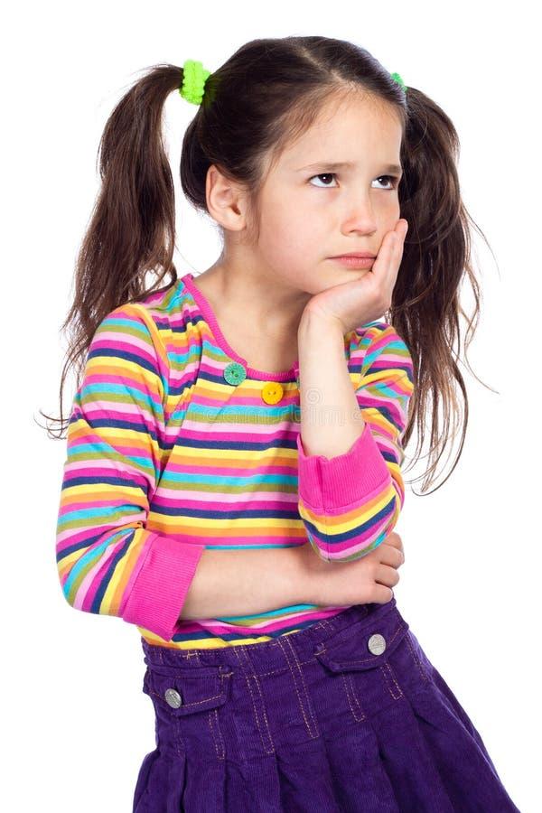 девушка меньший задумчивый портрет стоковая фотография rf