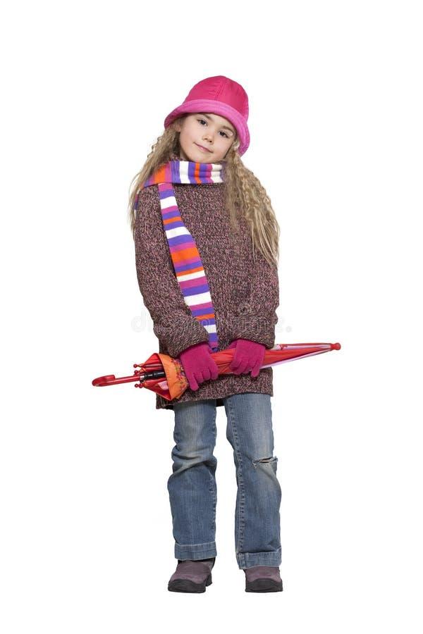 девушка меньший зонтик стоковое изображение rf