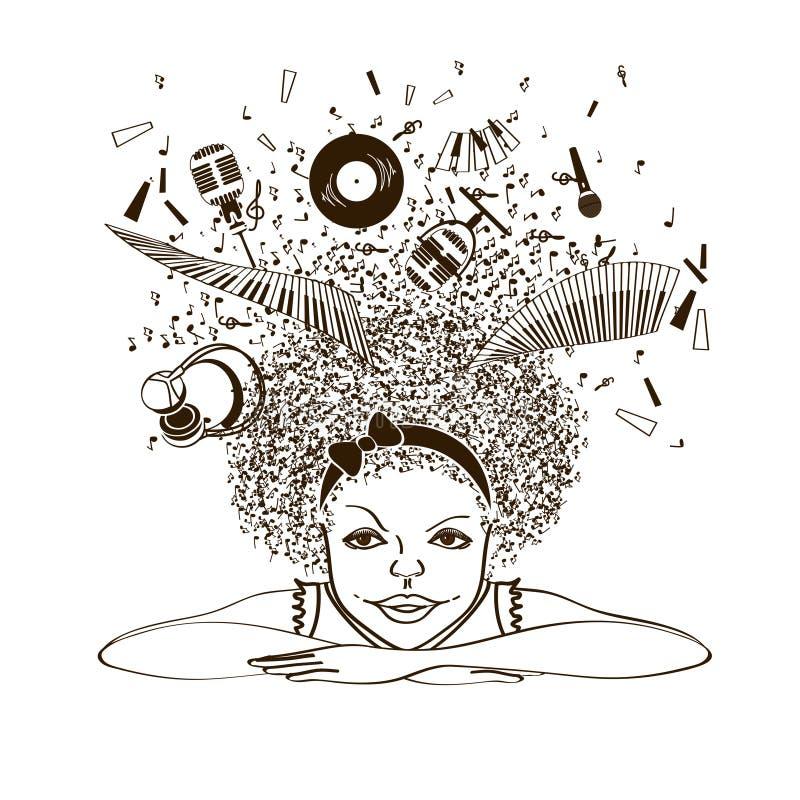 Девушка мечтая для того чтобы быть музыкантом бесплатная иллюстрация