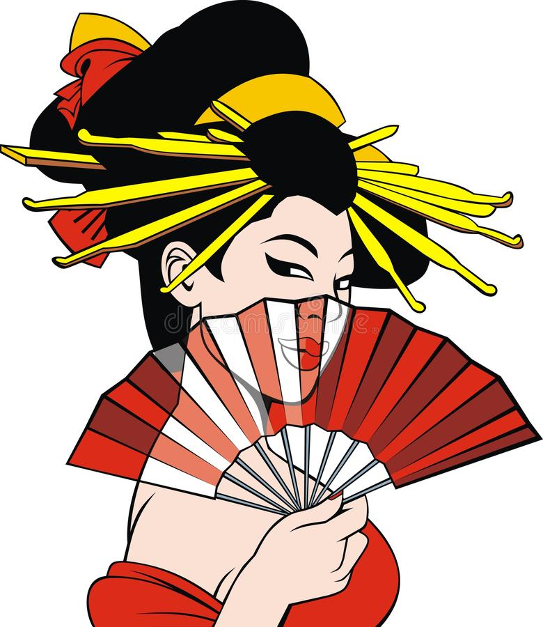 Девушка мечты гейши иллюстрация штока
