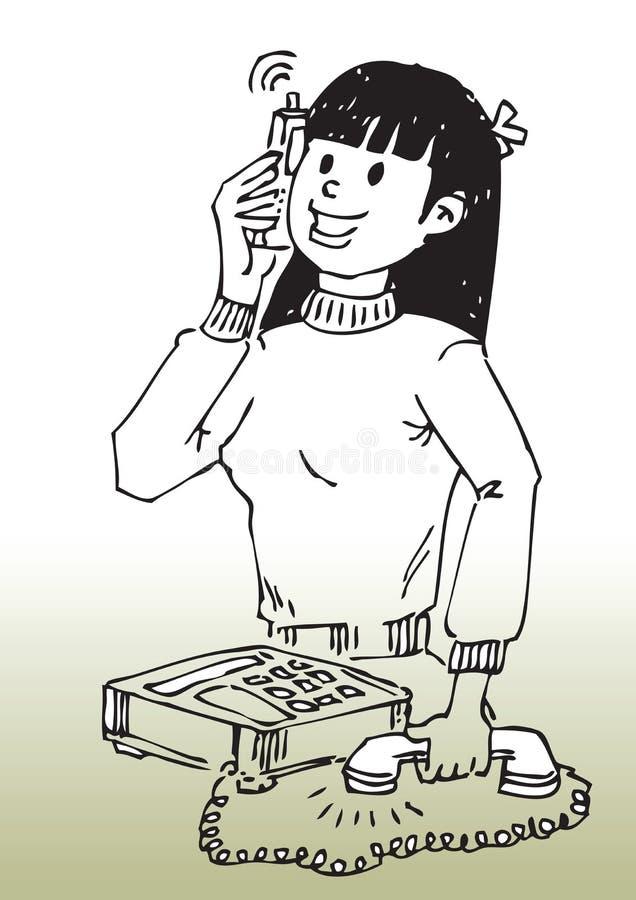 девушка мобильного телефона шаржа иллюстрация вектора