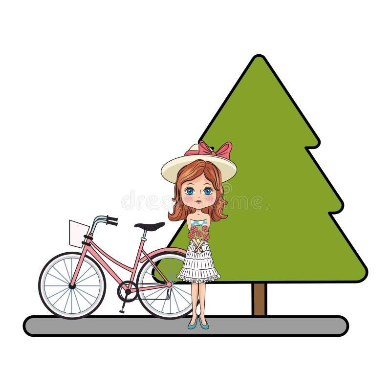 Девушка моды с велосипедом иллюстрация вектора