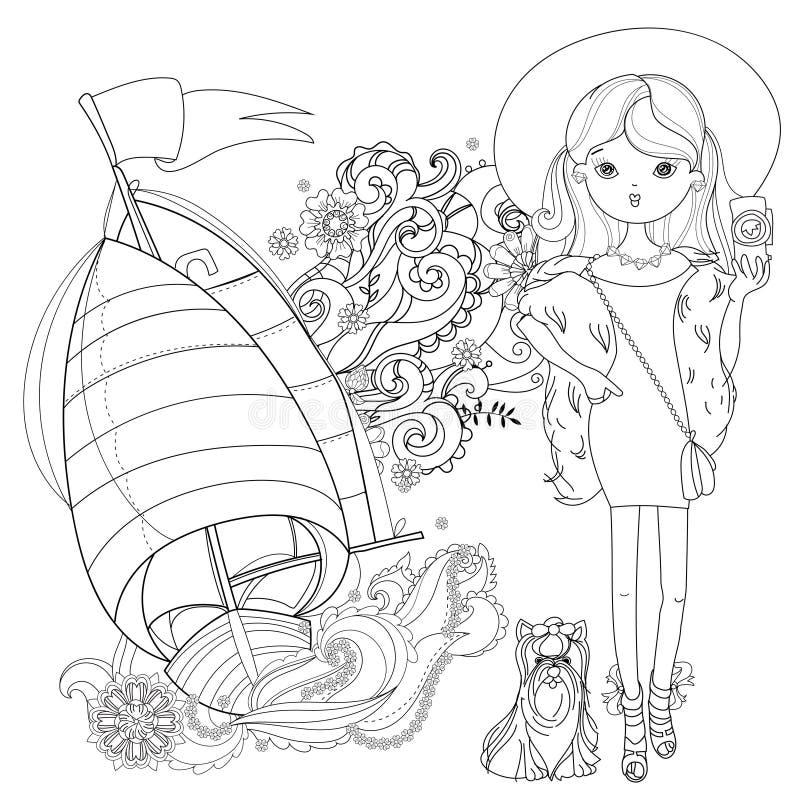 Девушка моды вектора милая с собакой иллюстрация штока