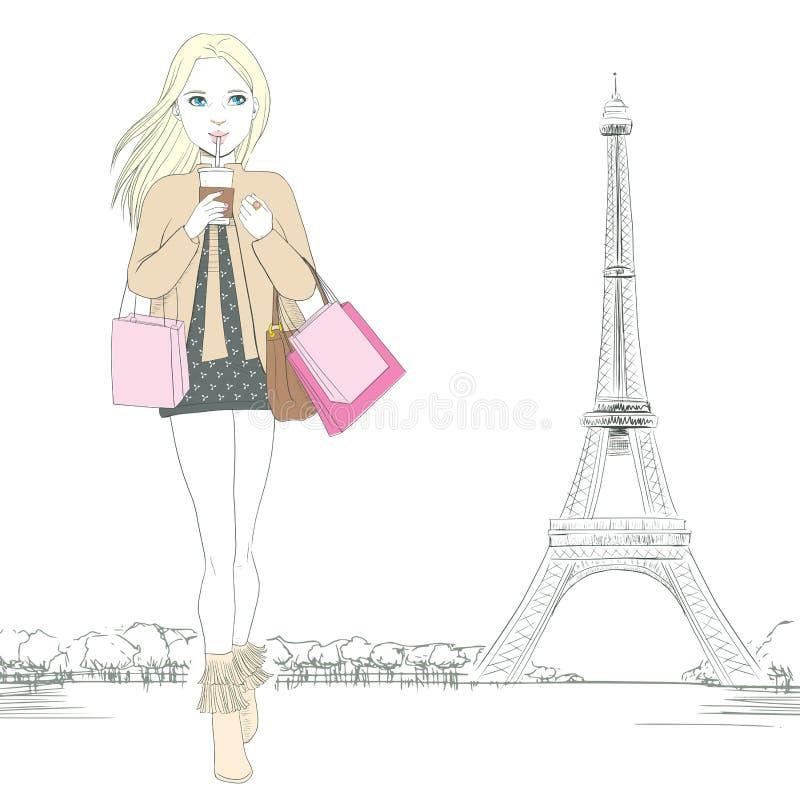Download Девушка моды Парижа иллюстрация вектора. иллюстрации насчитывающей персона - 40579138