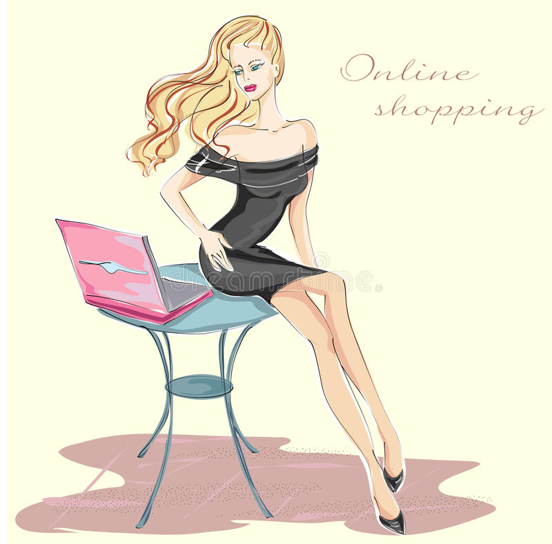 Девушка моды с ходить по магазинам компьтер-книжки онлайн иллюстрация вектора