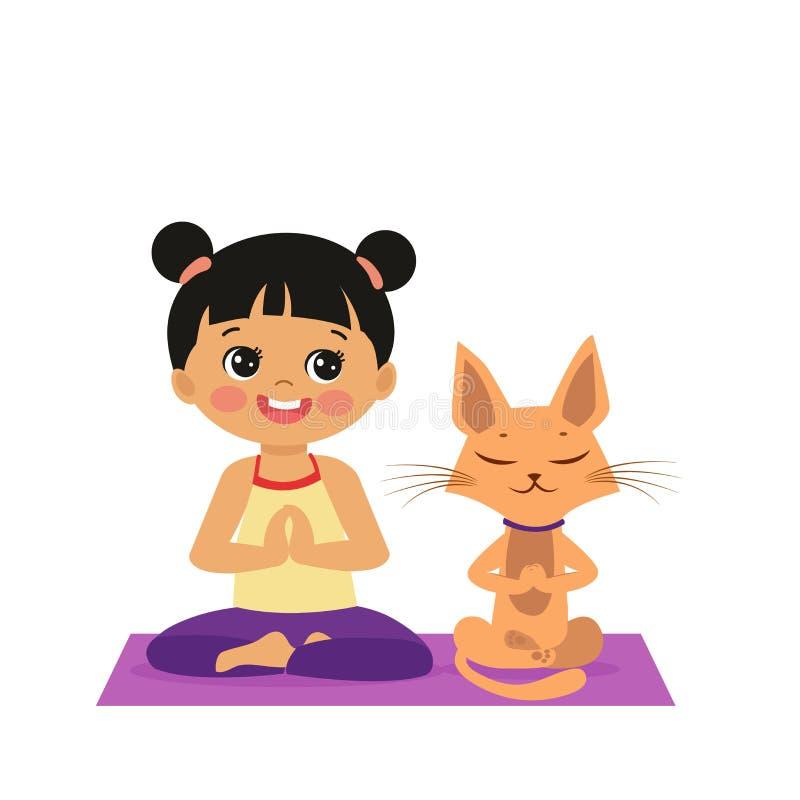 Девушка мультфильма в представлении лотоса йоги с милым котом Практикуя значок йоги иллюстрация вектора