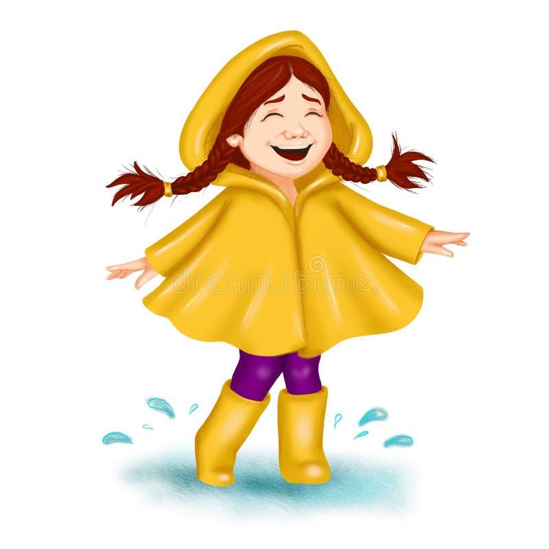 Девушка мультфильма искусства зажима весны с оплетками в плаще танцуя и смеясь Для поздравительной открытки весны, сезонное знамя иллюстрация вектора
