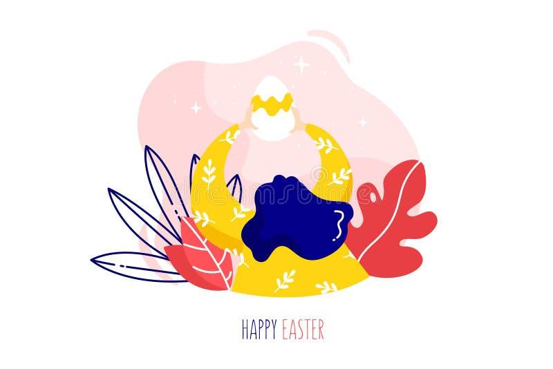 Девушка мультфильма с пасхальным яйцом, тропическими заводами и текстом на белой предпосылке дополнительный праздник формата карт иллюстрация штока