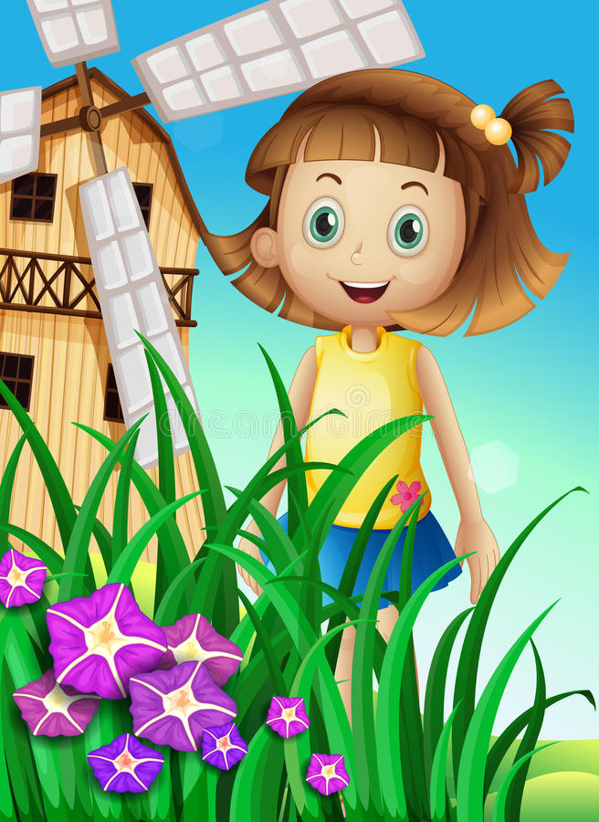 Девушка наблюдая цветки в саде около ветрянки иллюстрация вектора