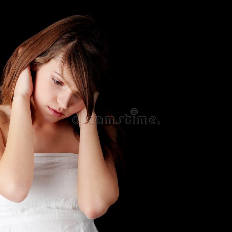 девушка нажатия подростковая стоковые изображения rf
