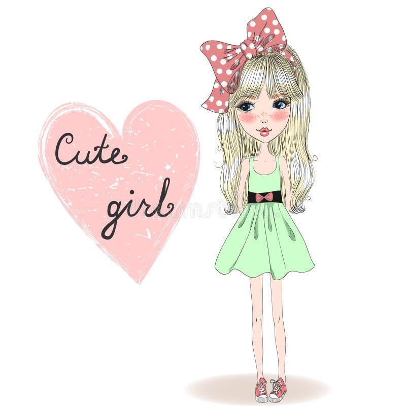 Девушка нарисованная рукой красивая милая бесплатная иллюстрация