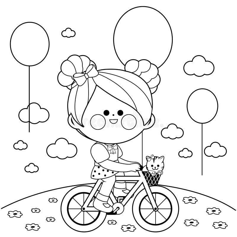 Девушка на велосипеде на парке Черно-белая страница книжка-раскраски иллюстрация штока