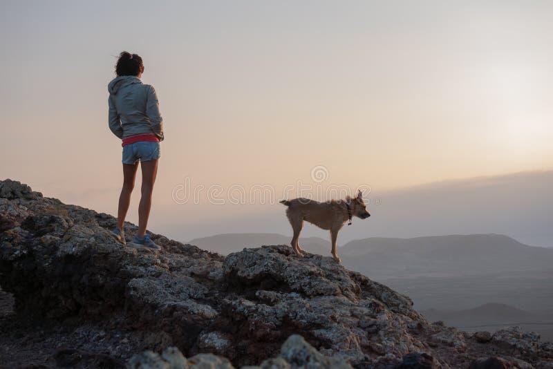 Девушка на верхней части вулкана с ее собакой стоковая фотография