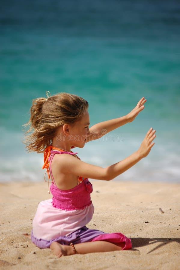Девушка на гаваиском пляже стоковая фотография rf