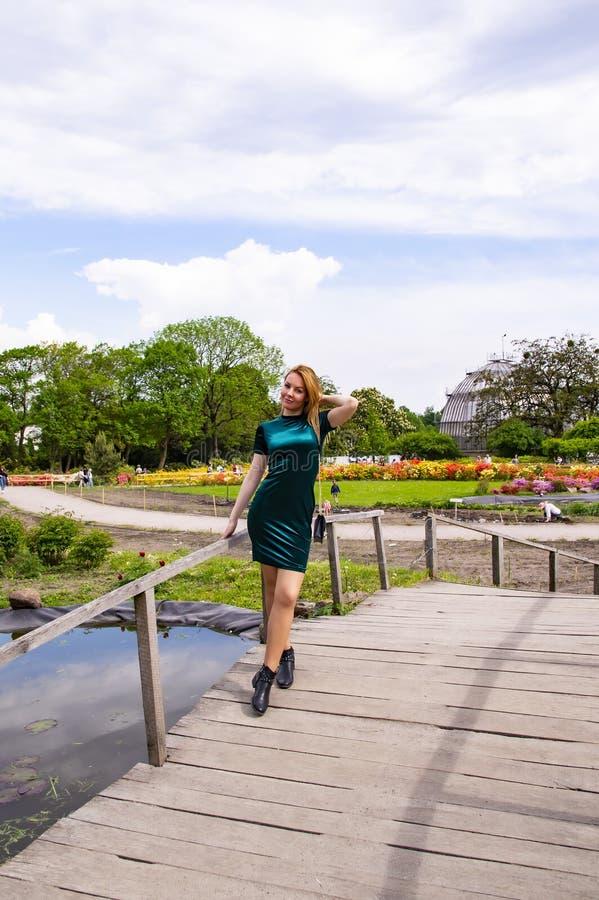 Девушка на деревянном мосте над водой стоковые фото