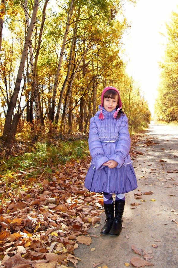 Девушка на дороге осени стоковая фотография rf