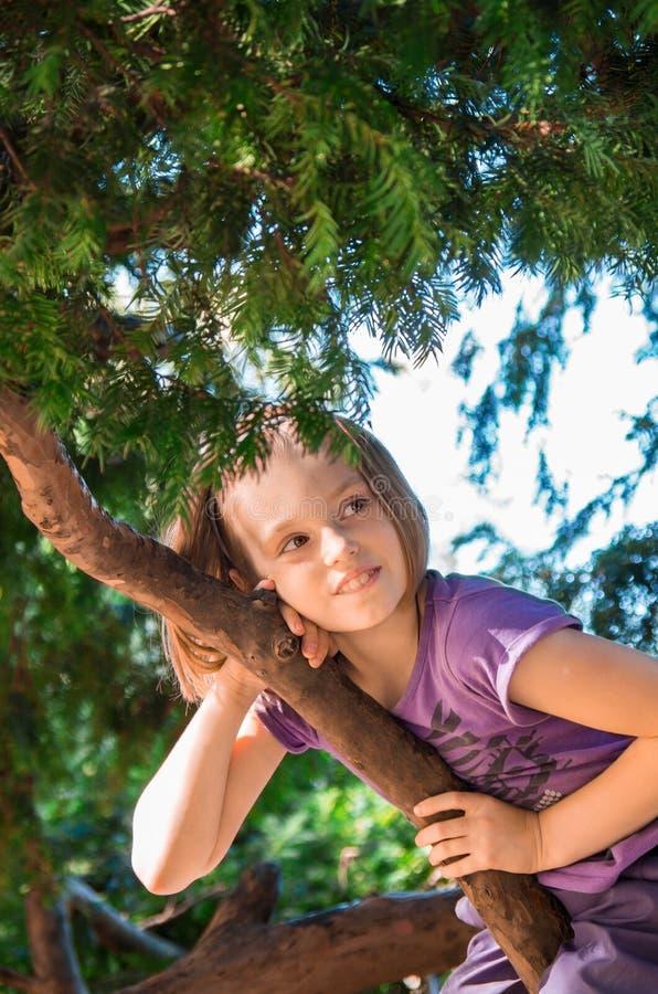 Девушка на дереве стоковое фото