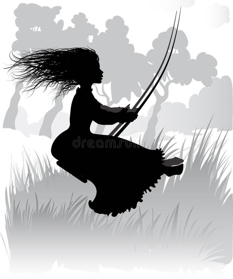 Девушка на качании иллюстрация вектора