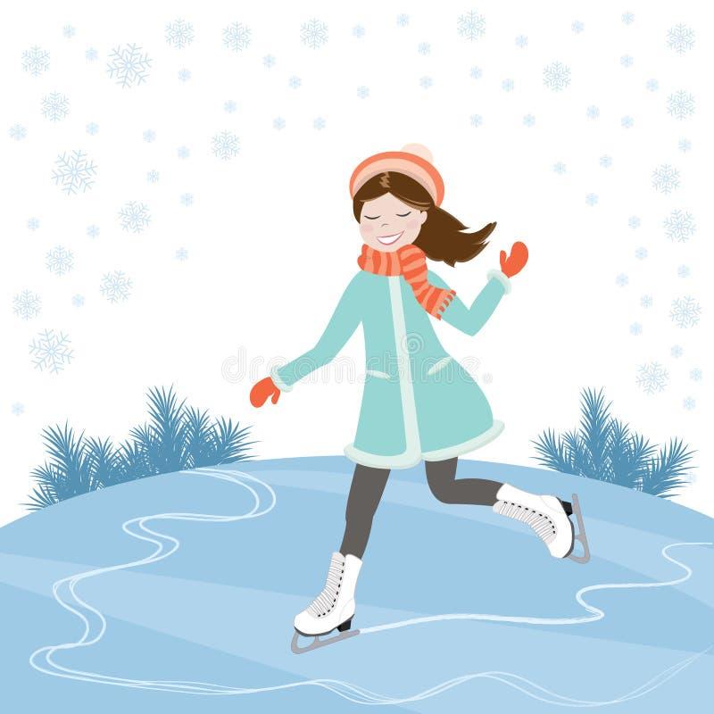 Девушка на коньках иллюстрация вектора