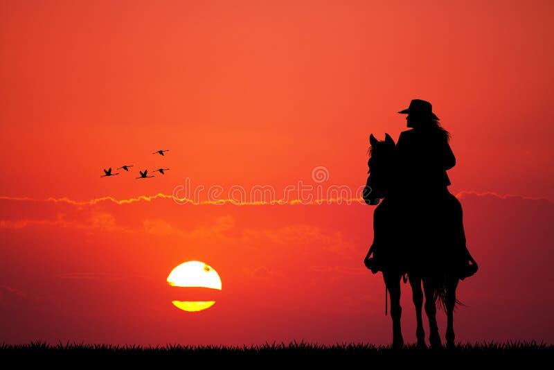 Девушка на лошади бесплатная иллюстрация