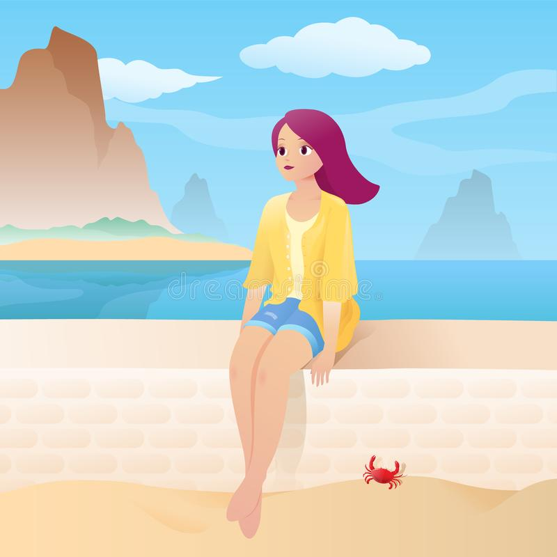 Девушка на песчаном пляже с красивым морем и тропическим пейзажем острова иллюстрация вектора