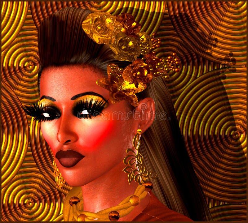 Девушка на предпосылке бронзы, медных и коричневых абстрактной стоковое изображение rf