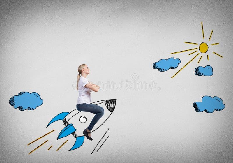 Девушка на Ракете бесплатная иллюстрация