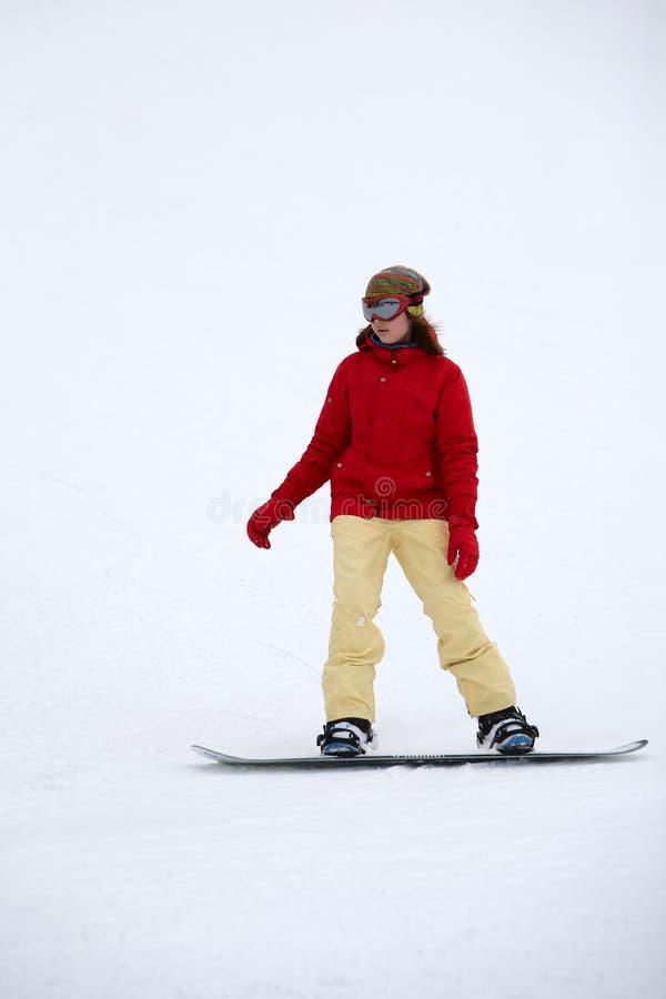Девушка на сноуборде стоковые фотографии rf