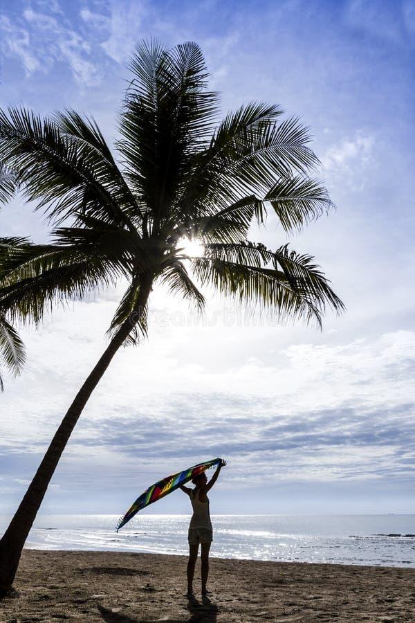 Девушка на тропическом пляже стоковая фотография