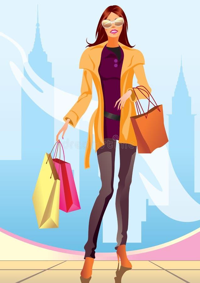 девушка новый ходя по магазинам york мешка иллюстрация вектора