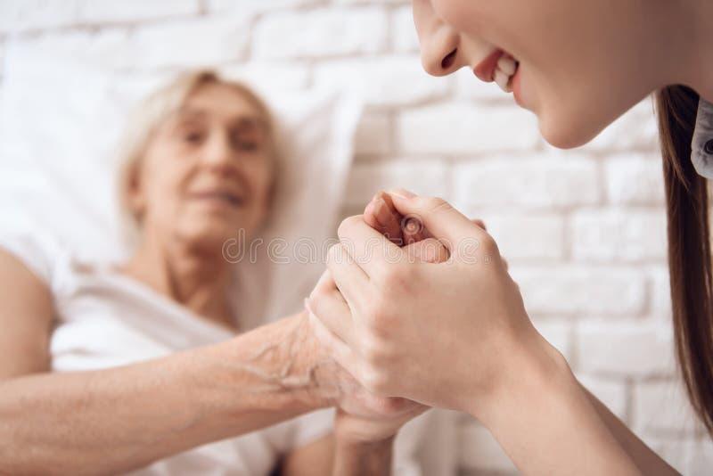 Девушка нянчит пожилую женщину дома Они держат руки, счастливые стоковые изображения