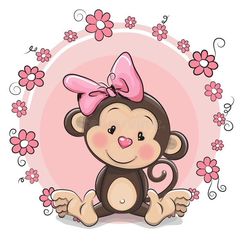 Девушка обезьяны поздравительной открытки милая бесплатная иллюстрация