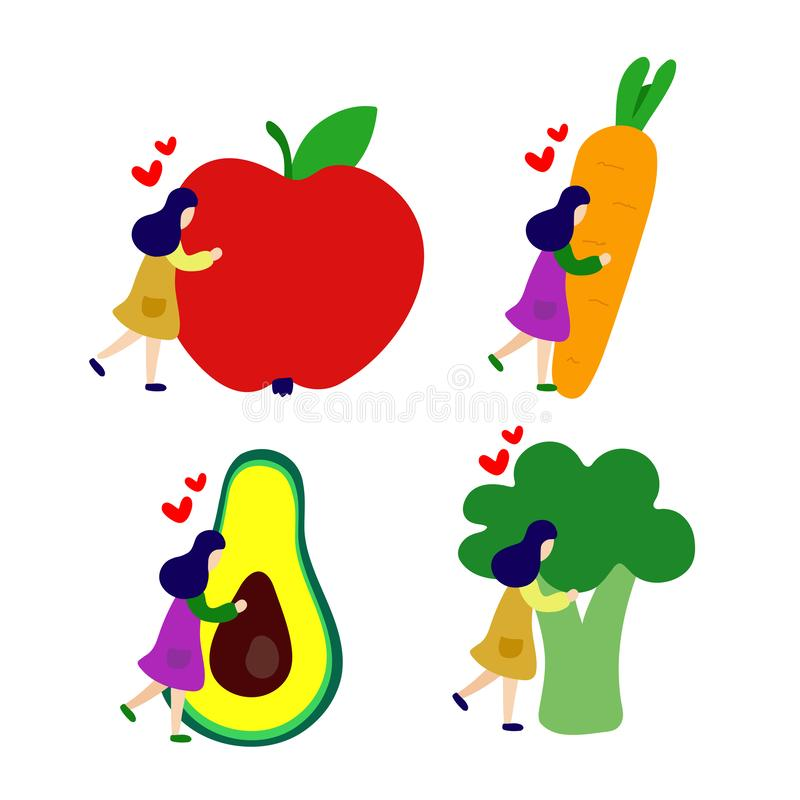 Девушка обнимает большое яблоко, морковь, авокадо, набор брокколи бесплатная иллюстрация
