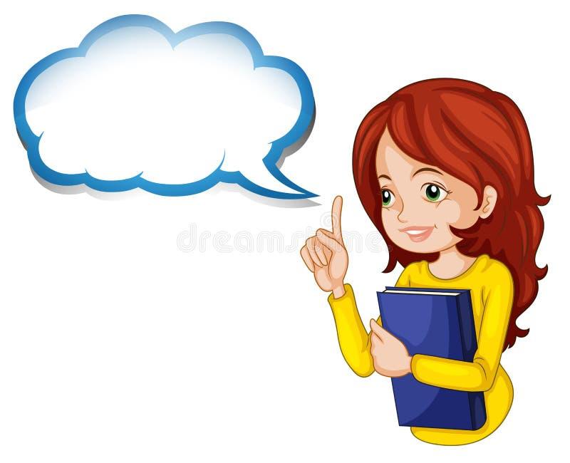 Девушка обнимая книгу с пустым callout иллюстрация штока