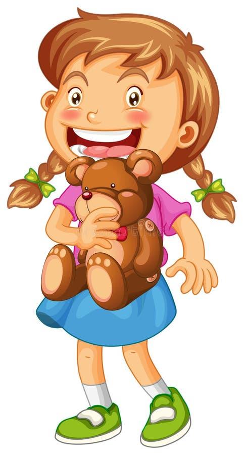 Девушка обнимая коричневый плюшевый медвежонка иллюстрация штока
